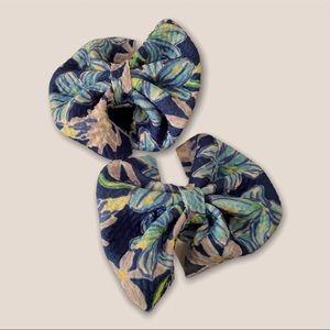 Floral piggie hair bow set